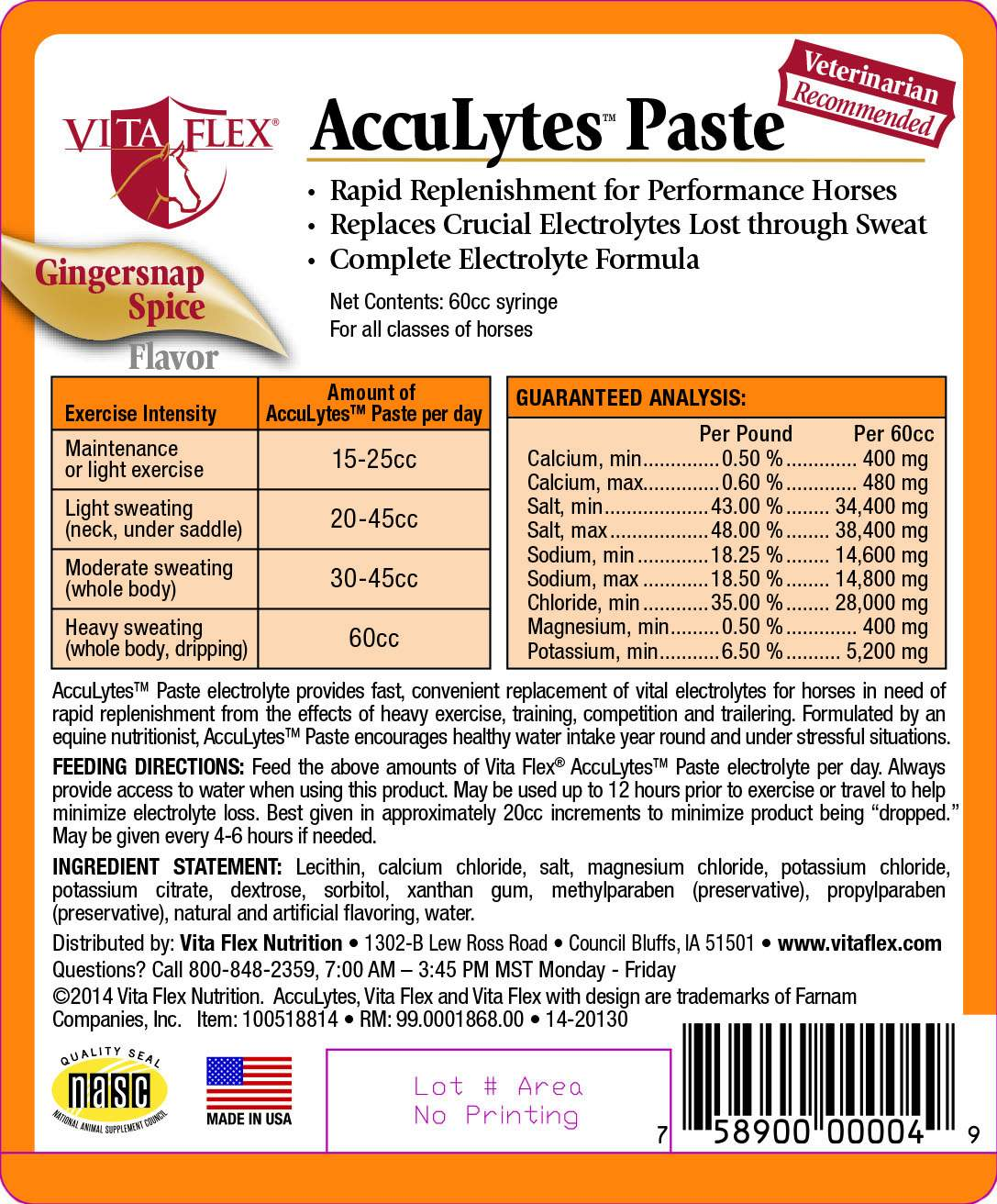 Vita Flex AccuLytes Paste Gingersnap Spice Flavor Label Front