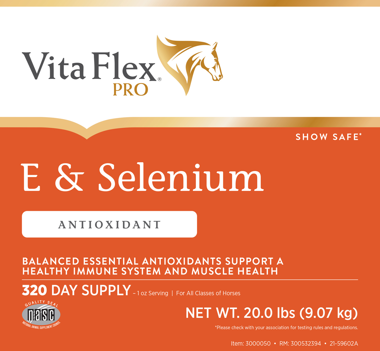 Vita Flex E and Selenium 20lb Label Front