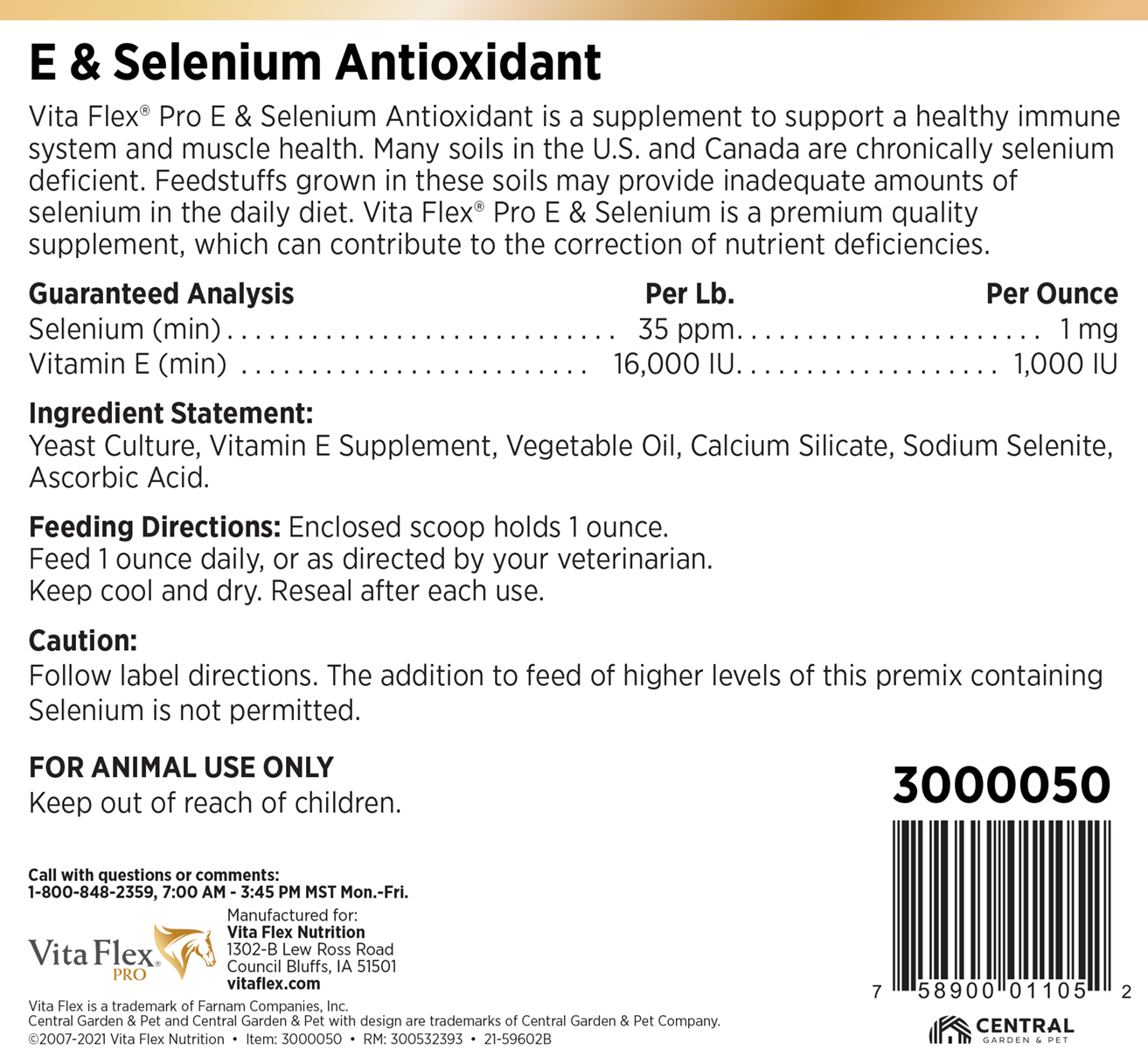 Vita Flex E and Selenium 20lb Label Back