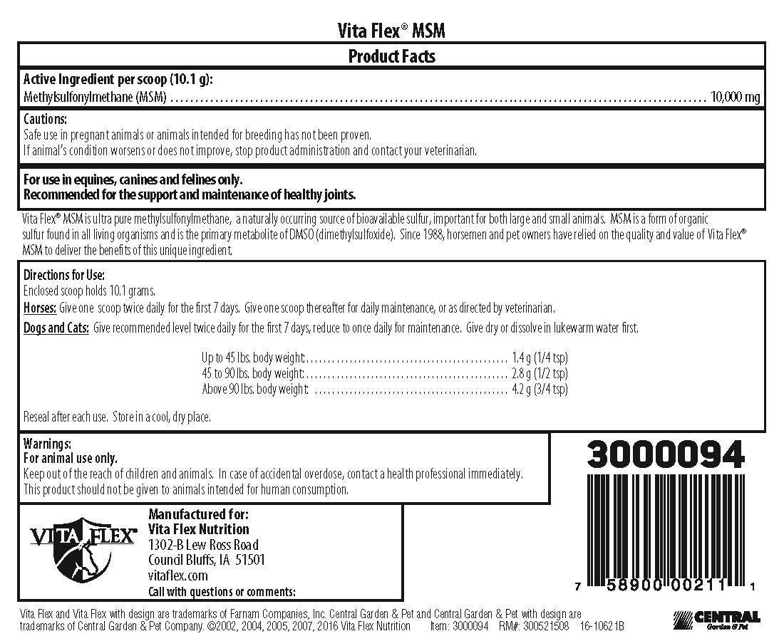 Vita Flex MSM Product 10lb Label Back